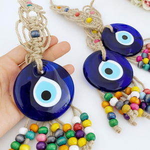 Evil Eye Wall Hanging, Blue Glass Evil Eye Bead, Wood Beads