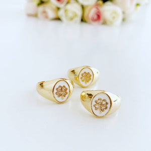 Gold Daisy Ring, Clover Ring, Adjustable Chunky Ring