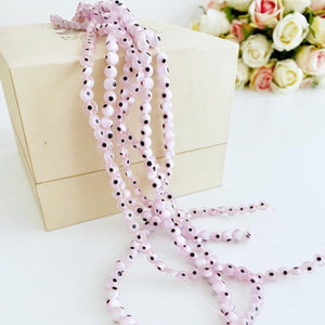 Flat Round Evil Eye Beads, Pale Pink Evil Eye, 6mm to 12mm beads