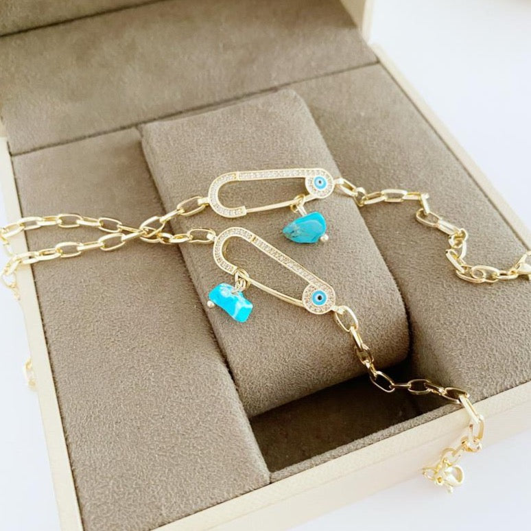 Evil Eye Bracelet, Safety Pin Bracelet, Gold Chain Bracelet