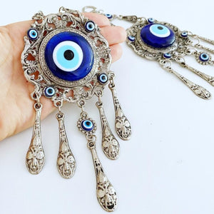 Evil Eye Wall Hanging, Blue Evil Eye Bead, Metal Wall Decor