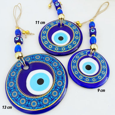 Evil Eye Wall Hanging, Patterned Wall Hanging, Painted Evil Eye Home Decor (9-13cm)