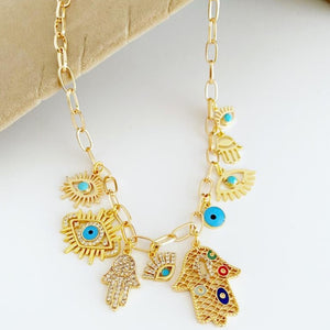 Gold Chain Necklace, Evil Eye Necklace, Chunky Chain Necklace, Hamsa Hand