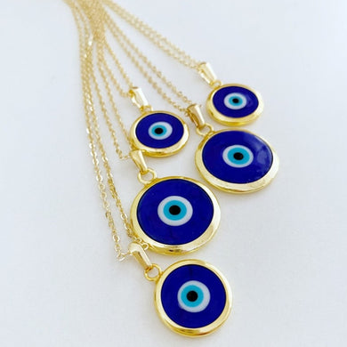 Blue Evil Eye Necklace, Blue Murano Evil Eye Bead, Turkish Evil Eye Necklace - Evileyefavor