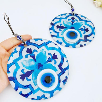 Evil Eye Wall Decor, Fused Glass Evil eye Bead, Handmade Glass Evil Eye Wall Hanging