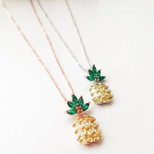 Pineapple Necklace, Zircon Fruit Necklace, Beach Jewelry - Evileyefavor