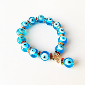 Evil Eye Stretch Bracelet, Glass Turquoise Evil Eye Beaded Bracelet - Evileyefavor