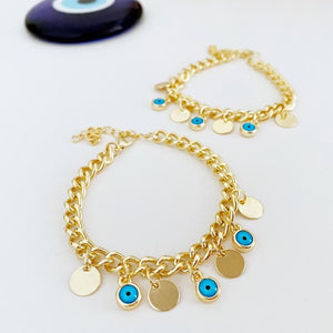 Gold Evil Eye Bracelet, Gold Link Chain Bracelet, Mini gold disc charm