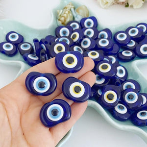 10 pcs Blue Evil Eye Bead, Resin Evil Eye Charm, Evil Eye Bulk Gift, Greek Evil Eye
