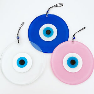 Glass Evil Eye Bead, Handmade Evil Eye Wall Hanging, Evil Eye Home Decor, Pink Clear Blue