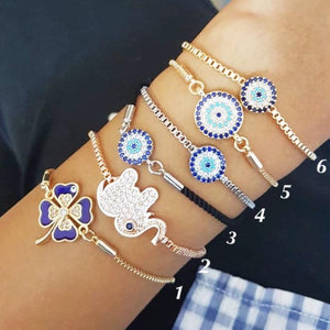 Evil Eye Bracelet Set, Adjustable Bracelet, Lucky Greek Evil Eye Bracelet - Evileyefavor