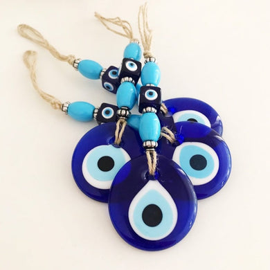 Evil eye wall hanging with blue evil eye beads - Evileyefavor