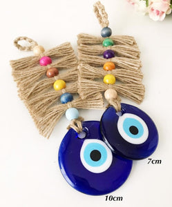 Macrame evil eye wall hanging with colorful beads - Evileyefavor