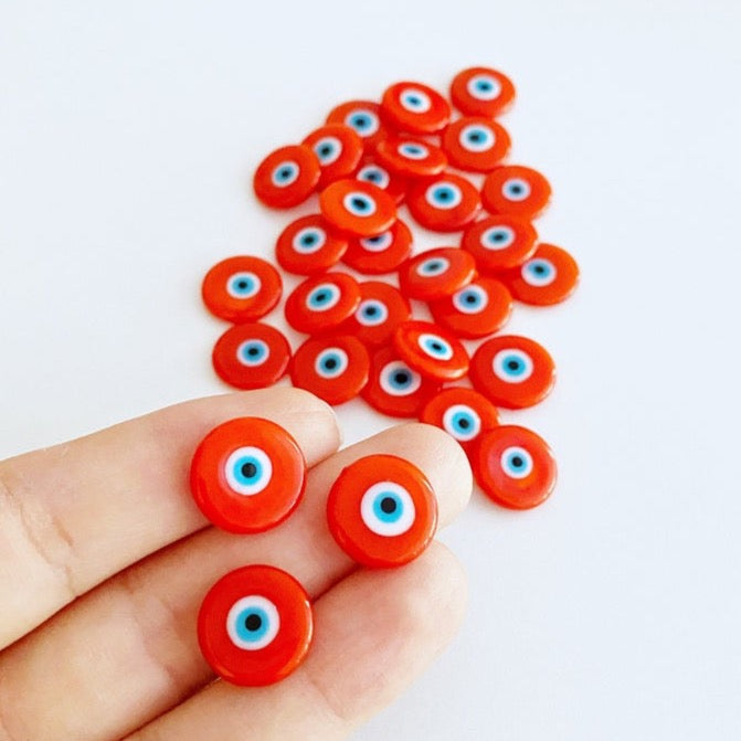 Orange Evil Eye Cabochons, 15mm Murano Glass Cabochon, Handmade Glass Bead