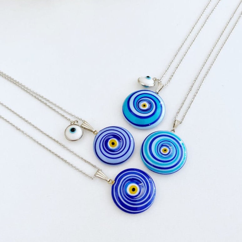 Evil Eye Necklace, Murano Glass Evil Eye Bead, Evil Eye Jewelry, Silver Necklace - Evileyefavor