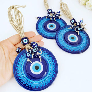 Blue Evil Eye Wall Hanging, Macrame Wall Hanging, Evil Eye Home Decor, Fused