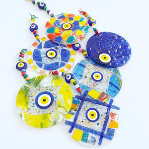 Handmade Glass Evil Eye Wall Hanging, Fused Glass Wall Decor, Lampwork