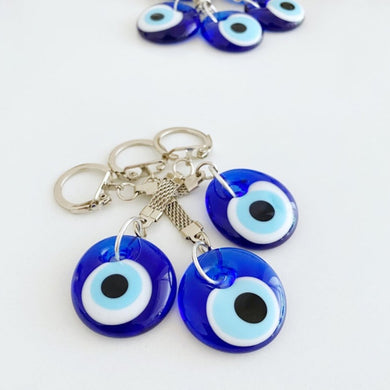 Blue Evil Eye Keychain, Glass Evil Eye Bead, Greek Evil Eye
