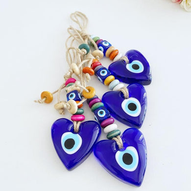 Heart Evil Eye Wall Hanging, Glass Evil Eye Home Decor, Macrame Wall Hanging