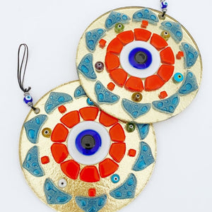 Patterned Evil Eye Wall Hanging, Handmade Glass Wall Decor, Orange Wall Hanging
