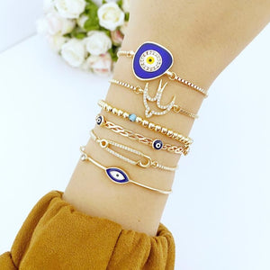Evil Eye Bracelet, Gold Adjustable Bracelet, Cuff Bracelet, Bird Charm