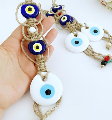 White Evil Eye Bead, Evil Eye Wall Hanging, Macrame Wall Hanging, Home Gift
