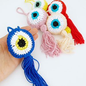 Handmade Evil Eye, Evil Eye Wall Hanging, Evil Eye Car Charm, Knitting Evil Eye