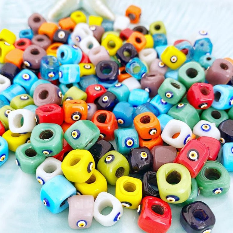 Evil Eye Beads, 12mm cube beads, Handmade Murano Glass Beads