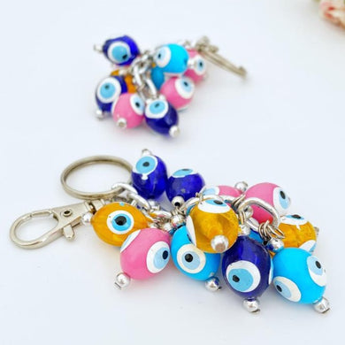 Rainbow Evil Eye Keychain, Evil Eye Key Chain, Resin Evil Eye Beads