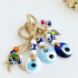 Tiny Evil Eye Wall Hanging, Blue White Evil Eye Bead, Evil Eye Home Decor
