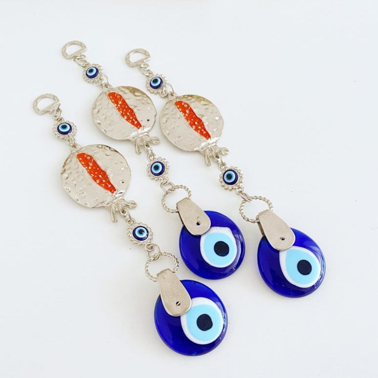 Pomegranate Evil Eye Wall Hanging, Lucky Evil Eye Home Decor