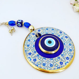 Blue Evil Eye Wall Hanging, 13cm, White Patterned Evil Eye Wall Decor