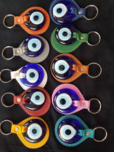 Blue Evil eye elegant leather keychain