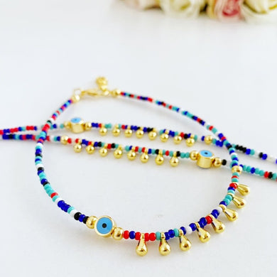 Evil Eye Anklet, Seed Beads Anklet, Rainbow Beach Anklet, Evil Eye Jewelry