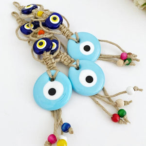 Evil Eye Wall Hanging, Macrame Wall Hanging, Blue Evil Eye Bead