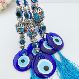 Blue Evil Eye Wall Hanging, Ceramic Charm, Evil Eye Home Decor