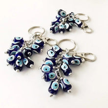 Blue Evil eye bag chain, evil eye keychain, dog leash - Evileyefavor