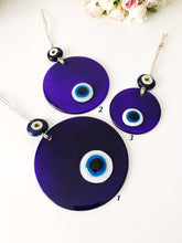 Blue glass evil eye wall hanging - Evileyefavor