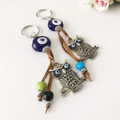 Blue evil eye good luck keychain, elephant, owl keyring - Evileyefavor