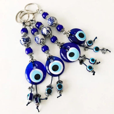 Evil eye protection keychain with ceramic charm - Evileyefavor