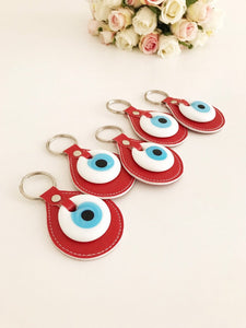 Evil eye red leather keychain - Evileyefavor