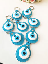 Evil eye turquoise leather keychain - Evileyefavor