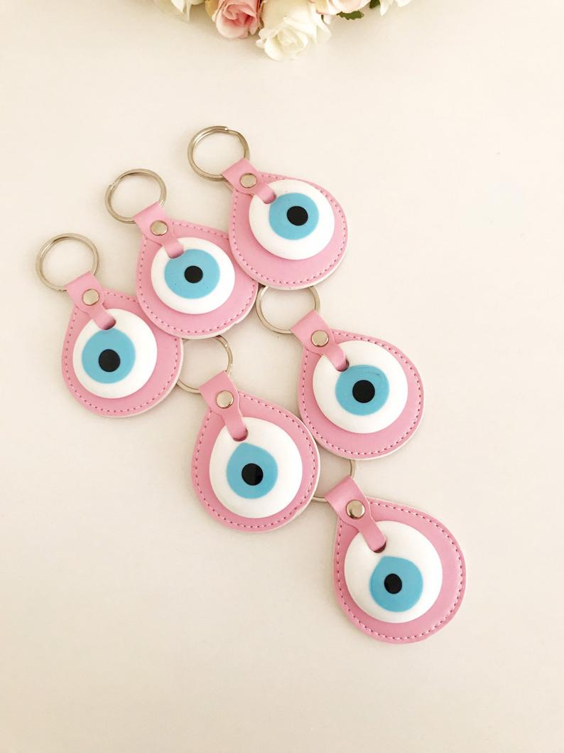 Evil eye elegant leather keychain - Evileyefavor