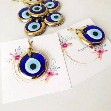 Gold evil eye wedding giveaway with personalized card - Evileyefavor