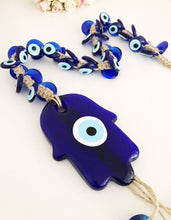 Large Hamsa Hand wall hanging with 41 evil eye beads - Evileyefavor