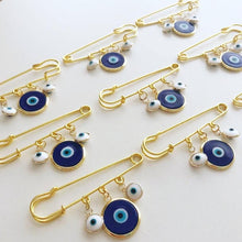 Evil Eye Wedding Favor, Evil Eye Safety Pin, Blue Murano Evil Eye Bead