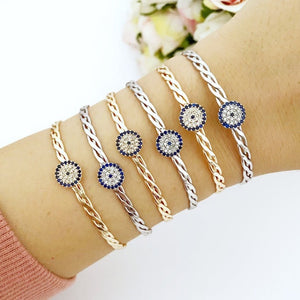 Evil eye bracelet, bangle evil eye bracelet, zircon evil eye charm, knitting