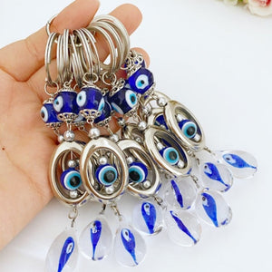 Evil eye key chain, glass evil eye keychain, evil eye key ring, evil eye bag charm