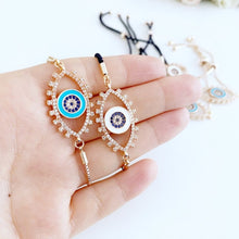 Eye shaped Evil Eye Bracelet, Adjustable Greek Evil Eye Bracelet, Rose Gold - Evileyefavor