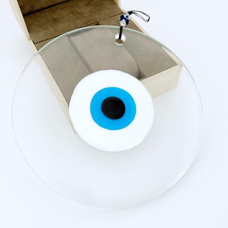 Clear Evil Eye Bead, Handmade Glass Evil Eye Wall Hanging, Murano Glass